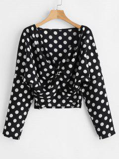 Plunge Twist Polka Dot Blouse - Black S