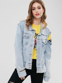 BUttons Embellished Cut Out Demin Jacket - Blue Gray L
