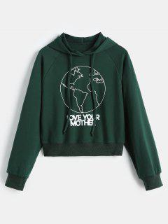 Raglan Sleeve Graphic Hoodie - Medium Sea Green S