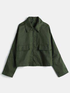 Drop Shoulder Zip Back Slit Jacket - Army Green S