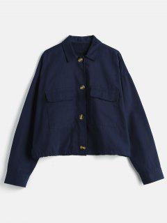 Drop Shoulder Pocket Oversized Jacket - Deep Blue L