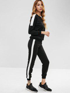 Drop Shoulder Sweatshirt And Jogger Pants Set - Black M