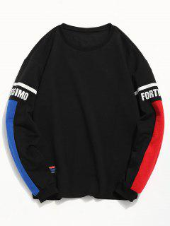 Stripes Letter Color Block T-shirt - Black L