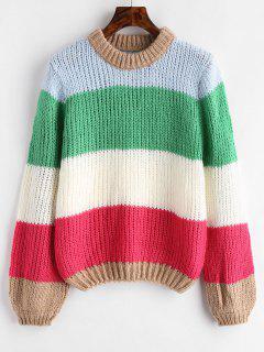 Chunky Color Block Sweater - Multi-b