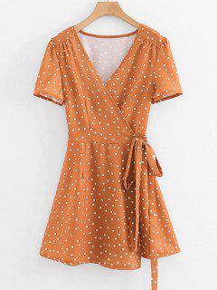 Polka Dot Lange Wrap Bluse - Dunkles Orange S