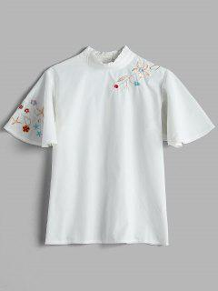 Floral Butterfly Sleeve Ruffle Collar Shirt - White S
