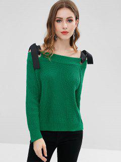 Tie Shoulder Long Sleeve Sweater - Green