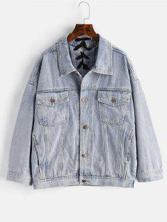 Back Lace-up Jean Jacket - Denim Blue M