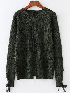 Heathered Lace Up Sweater - Dark Forest Green