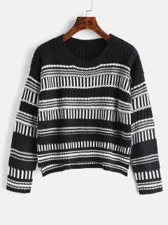 Graphic High Low Sweater - Black