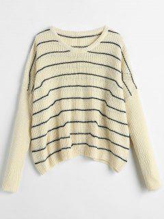 Oversized Striped Textured Sweater - Beige L