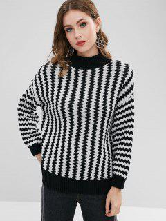 High Neck Zig Zag Sweater - Black