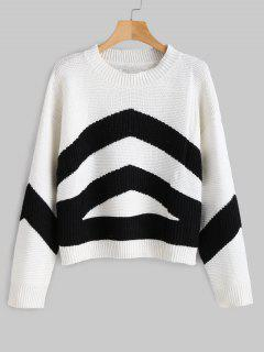 Contrast Sweater With Drop Shoulder - Black M