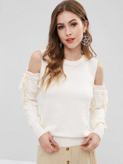 Cold Shoulder Tied Bowknot Sweater - White