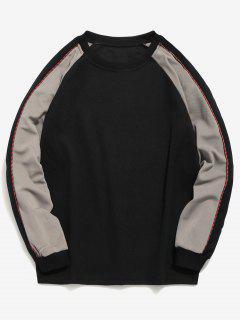 Raglan Sleeve Contrast Sweatshirt - Black L