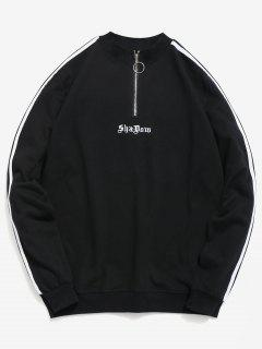 Embroidery Letter Striped Quarter Zip Sweatshirt - Black M