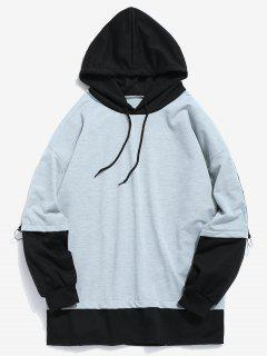 Two Tone Fake Two Piece Hoodie - Blue Gray L