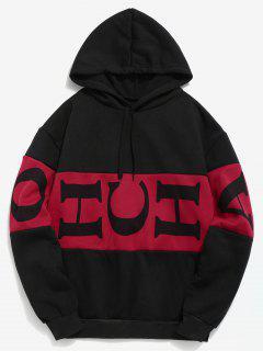 Letter Color Block Fleece Hoodie - Black L