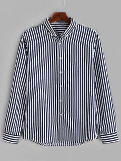 Casual Striped Button Down Shirt - Blue M