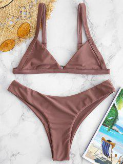 ZAFUL Ungefütterter High Cut Bikini Set - Rosiger Fink M