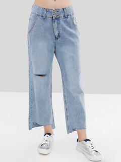 Ripped Raw Hem Wide Leg Jeans - Baby Blue L