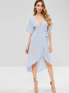 V Neck Asymmetric Wrap Dress - Sea Blue M