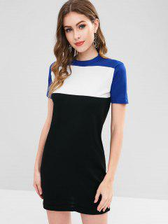 Color Block Casual Knit Dress - Black