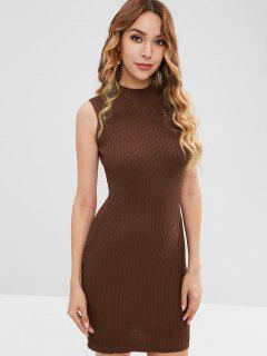 Mock Neck Sleeveless Knit Dress - Coffee