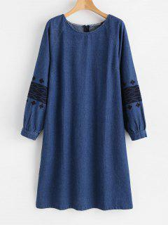 Embroidered Side Slit Denim Dress - Denim Dark Blue M