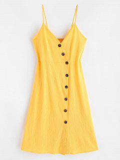 Smocked Back Buttoned Cami Dress - Bright Yellow M