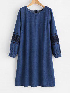 Vestido De Mezclilla Con Abertura Lateral Bordada - Azul Oscuro De Denim L