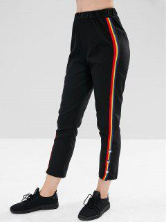 Rainbow Trim Bottoned Bottom Pants - Black M
