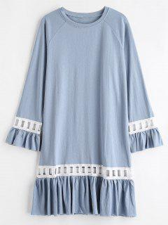 Ruffles Crochet Trim Casual Dress - Blue Gray