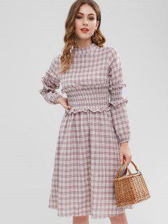 Smocked Long Sleeve A Line Dress - Pink