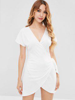 V Neck Mini Wrap Dress - White M