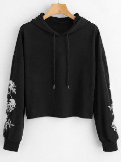 Embroidered Cropped Pullover Hoodie - Black L