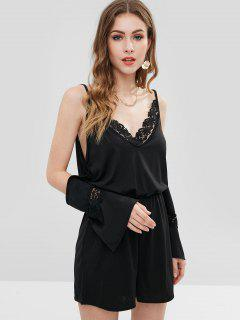 Lace Panel Cold Shoulder Romper - Black M
