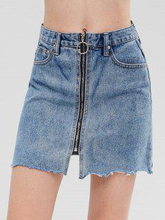Zip Up Denim Skirt - Jeans Blue M