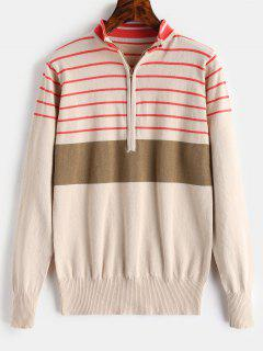 Half Zip Stripe Mock Neck Sweater - Apricot L