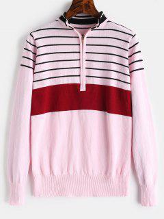 Half Zip Stripe Mock Neck Sweater - Light Pink S