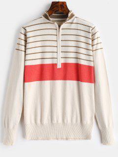Half Zip Stripe Mock Neck Sweater - Beige Xl