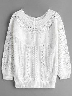 Suéter De Ganchillo De Punto Con Cuello Barco - Blanco L