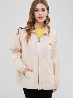 Embroidered Mesh Lining Windbreaker Jacket - Warm White