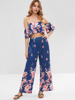 Floral Crop Top And Loose Pants Set - Cadetblue M