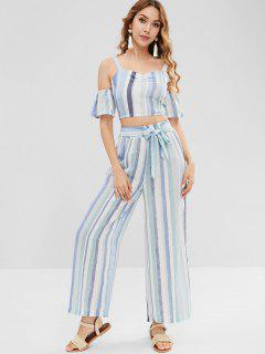 Cold Shoulder Striped Pants Set - Multi M