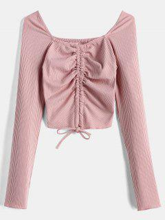 Sweetheart Neck Crop Knit Tee - Pink L