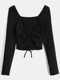 Sweetheart Neck Crop Knit Tee - Black L