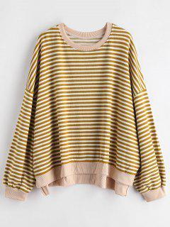 Gestreiftes High Low Sweatshirt - Herbstblatt Braun