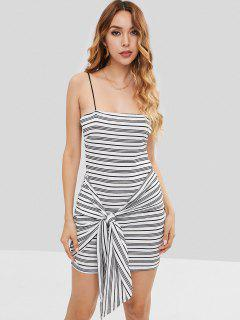 Knotted Striped Mini Dress - White S