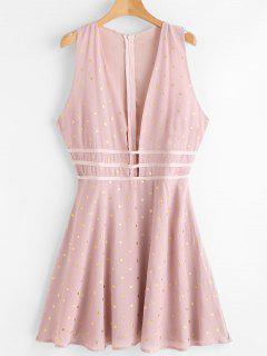 Cut Out Dotted Mini Dress - Light Pink L